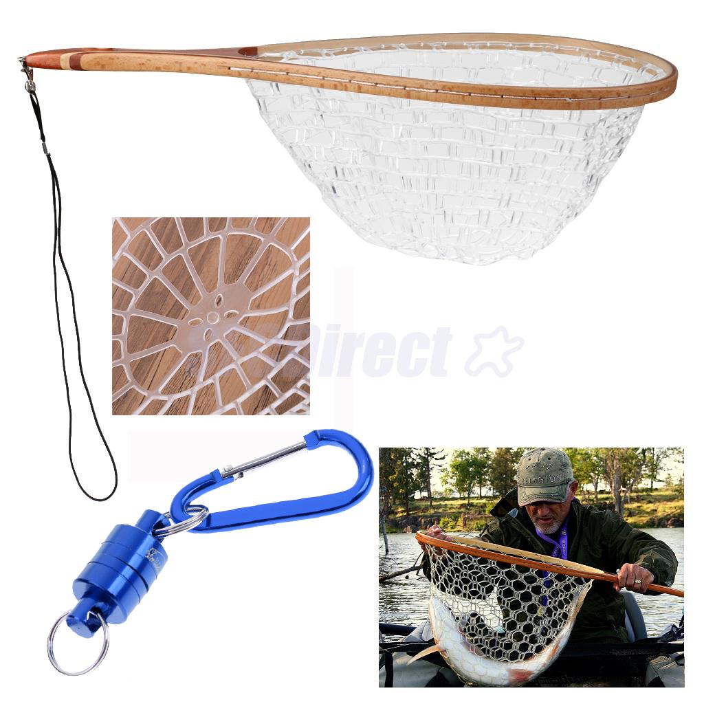 Fishing Landing Nets Wooden Handle Rubber Mesh + Fly Fishing Strong Pull Release Magnetic Net Clip Keeper Holder Gear Blue lawaia 25m long 1m high casting nets fishing nets pull pull net farms railing anti bird netting fish ponds dragnet