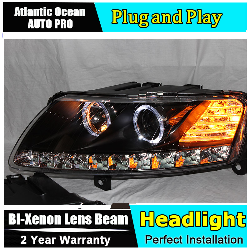 Auto.Pro Car Styling for Audi A6 C5 Headlights 2005-2012 A6 LED Headlight DRL Lens Double Beam HID KIT Xenon bi xenon lens hireno headlamp for 2012 2016 mazda cx 5 headlight headlight assembly led drl angel lens double beam hid xenon 2pcs