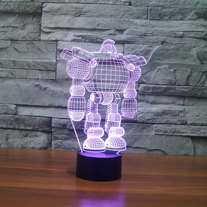cool robot 3d nightlight 7 color changing usb led table desk lampara as home decor bedroom