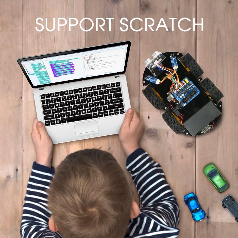 4WD Roboter Auto Kit für Arduino mit Ble UNO, mit Scratch, app Unterstützung IOS/Android Wifi Pädagogisches STEM Spielzeug Kein Löten Benötigt