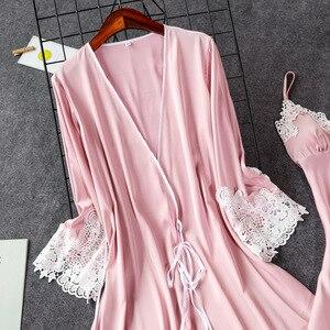Image 5 - 2019 Indoor Clothing Women Sleepwear Sexy Femme Robe Gown Set Sleep Lounge Ladies Nightwear Bathrobe Nightdress With Chest Pads