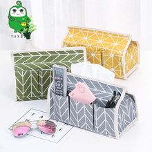 Cotton and linen cloth art paper towel box rural multi-functional set table top sundry storage цена в Москве и Питере