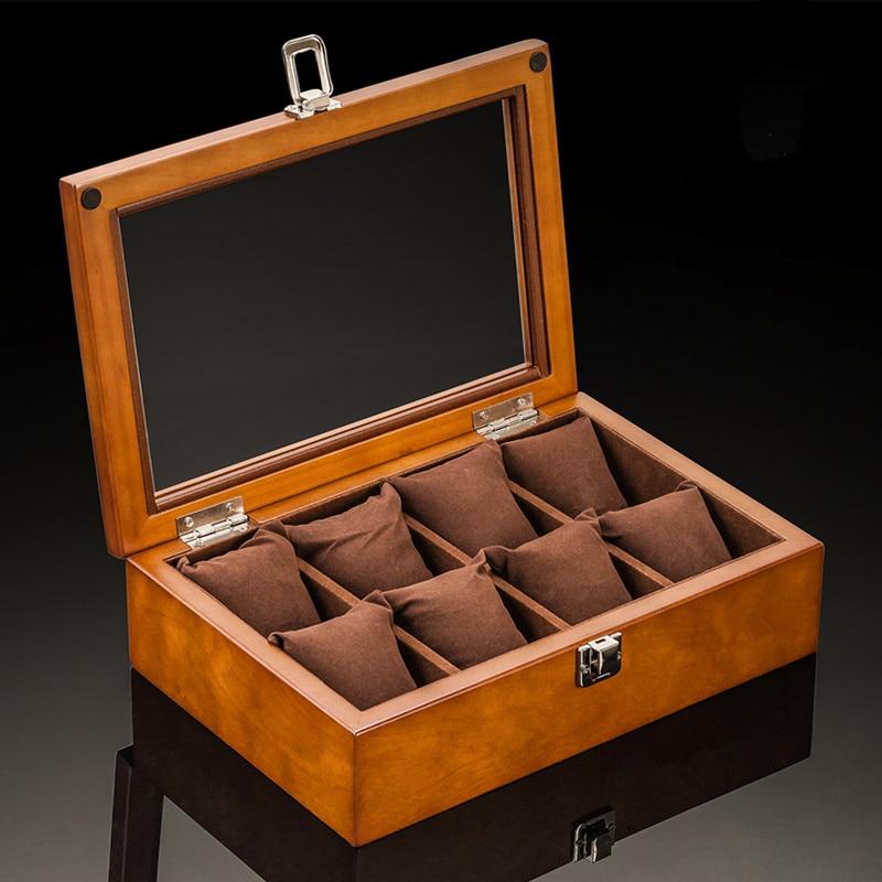 8 fentes boîtes de montre boîtier nouveau café bois montre organisateur avec verre support de montre mécanique porte-cadeau femmes