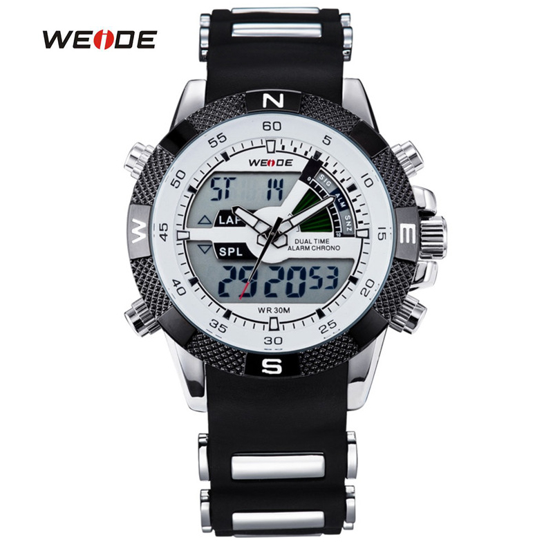 WEIDE Hot Sports Brand Watches Men Military LCD Luminous Analog Digital Date Week Alarm Display Quartz Watch Relogio Masculino weide wh2309b military sports quartz watch double movts analog digital led dual time display alarm wristwatch for men