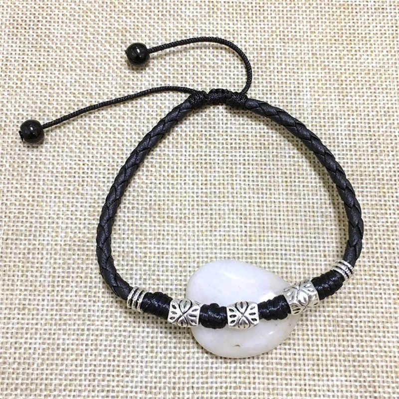 abc418a42939 Cool Simple ajustable hecho a mano hoja tobilleras tejido ajustable cuerda  suerte pie pulsera para Mujeres Hombres joyería
