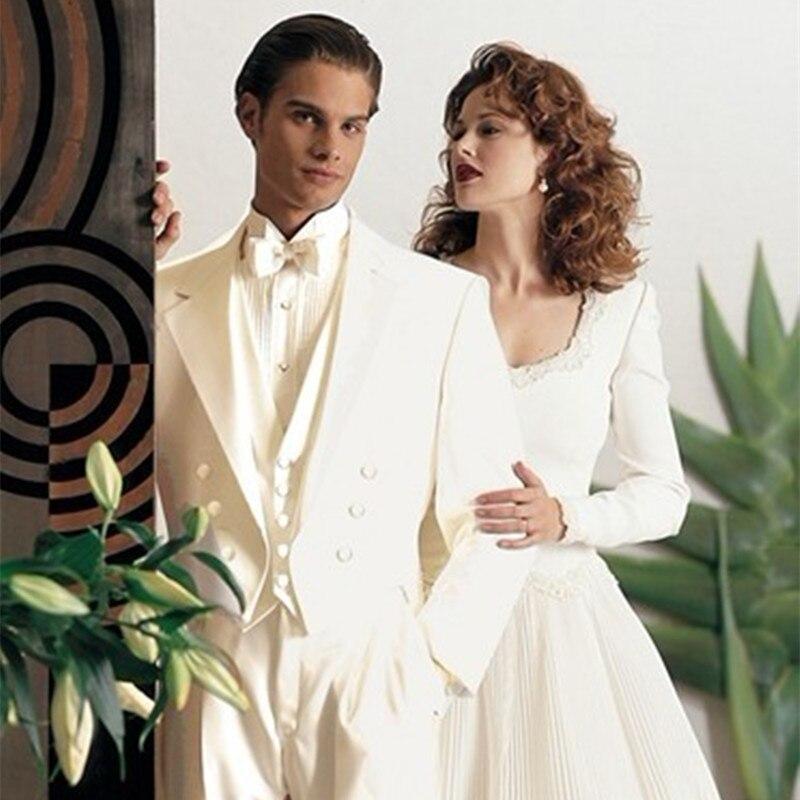 Hot Sale Mens Suits Groomsmen Notch Lapel Groom Tuxedos Ivory Wedding Best Man Suit (Jacket+Pants+Tie+Vest) A47