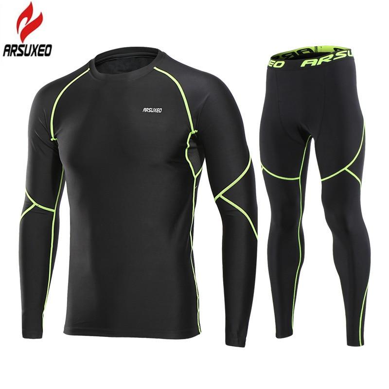 Arsuxeo Winter Thermal Fleece Men's Sport Suits Gym Fitness Leggings Compression Running Sets Warm Sport Suit Sportswear Set
