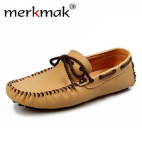 MerkmakBrand Men Genuine Leather Loafers Soft Casual Cowhide Driving Shoes Comfortable Slip On Moccasins Loafers