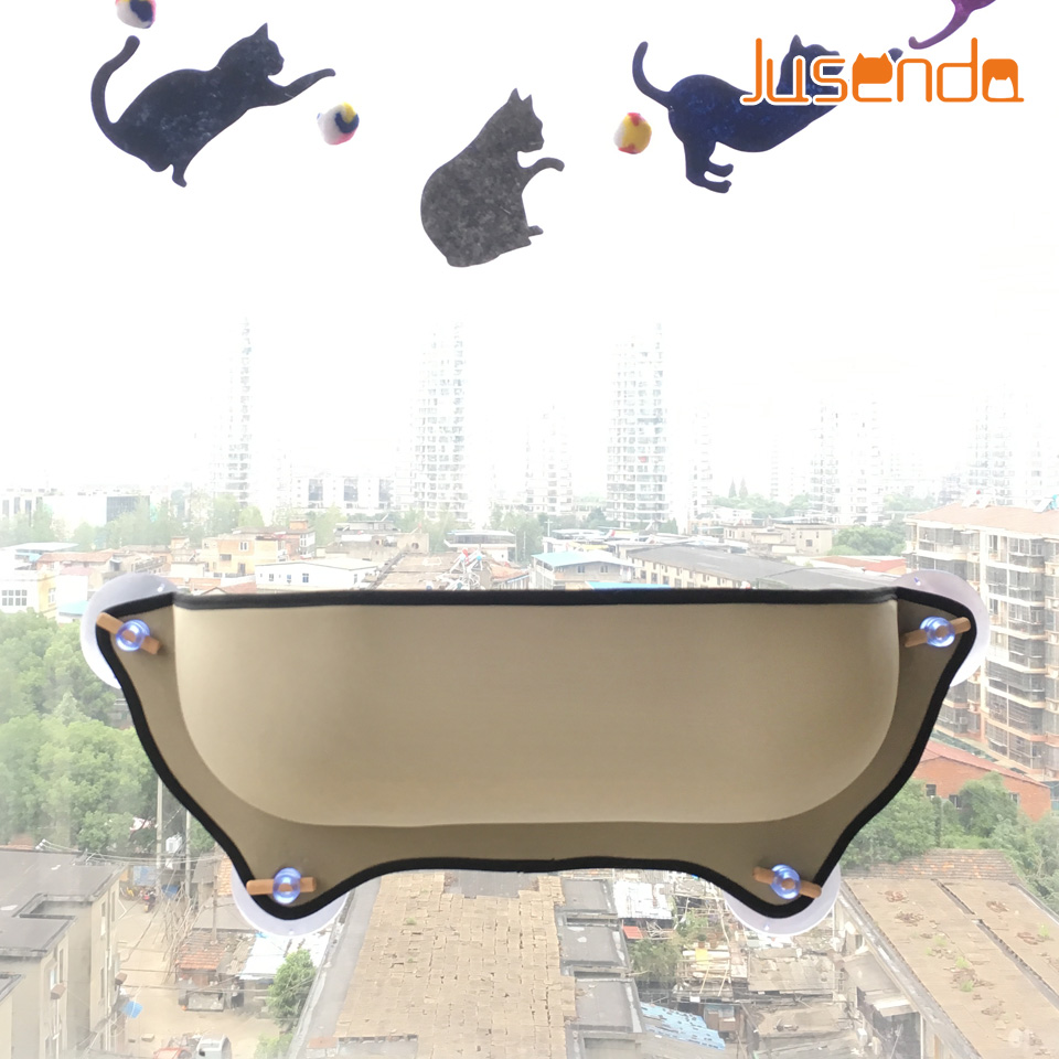 Cat Window Bed Mounted Pot Bed Hammock Mat Cat Lounger Perch Cushion Hanging Shelf Seat With Suction Cup For Ferret Chinchilla