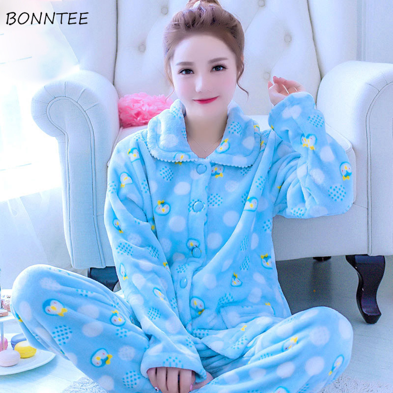 Pajama     Sets   Women Plaid Floral Cartoon Kawaii Printed Long Sleeve Thicker Warm Flannel Womens Sleepwear Soft Lovely Trendy Cute