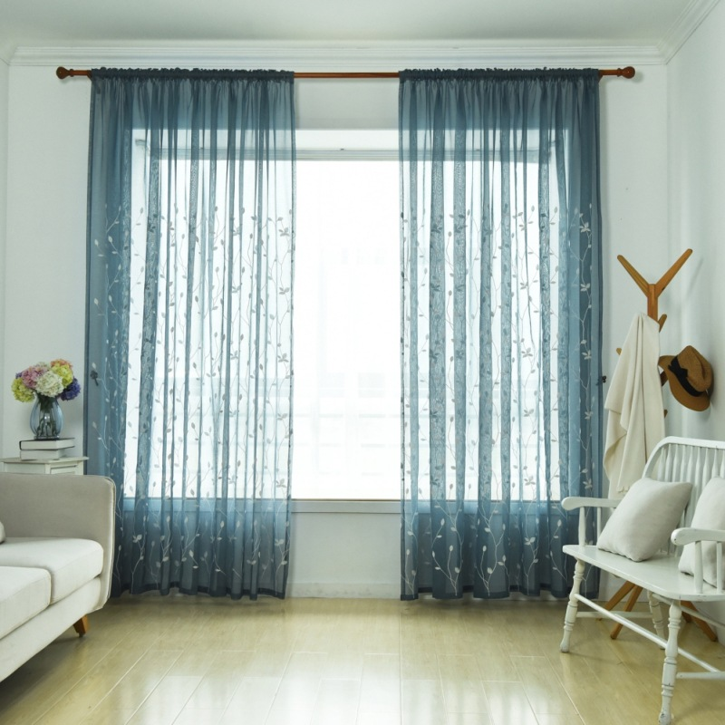 elegant sheer window curtains design ideas | curtain Embroidery Floral Tulle Sheer Curtains Elegant ...