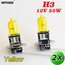 Hippcron lâmpada halógena 2 peças, h3, lâmpada amarela de halogênio 12v, 55w, 3000k, luz de xenon, vidro de quartzo brilhante, para farol de milha lâmpada automática