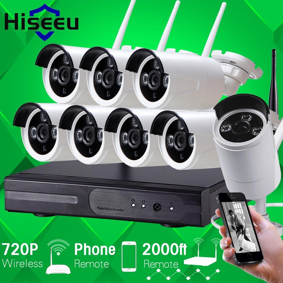 Hiseeu WIFI CCTV System720P 8ch HD Wireless NVR bullet IP Camera IR CUT CCTV Camera Home