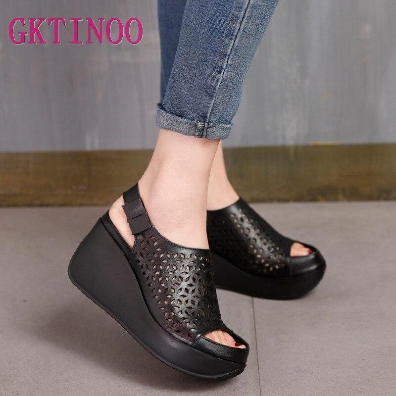 GKTINOO sandały z prawdziwej skóry damskie letnie buty Retro Hollow Out 7CM wysokie obcasy klinowe zestaw stóp kobiet skórzane sandały 2019 w Wysokie obcasy od Buty na  Grupa 1