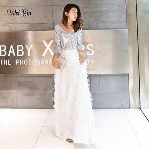 Image 1 - Wei Yin Robe De Soiree 2020 New Elegante Una Linea di Collo a V Bianco Del Merletto Convenzionale Lungo Abiti da Sera con Paillettes Partito abiti WY1112