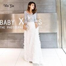 Wei yin vestido De noche largo Formal con lentejuelas, novedad De 2020, elegante, línea A, cuello en V, encaje blanco, WY1112