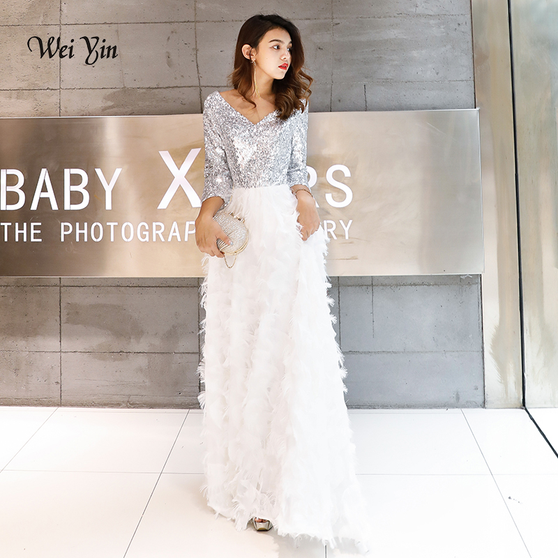 weiyin Robe De Soiree 2019 New Elegant A Line V Neck White Lace Long Formal   Evening     Dresses   Sequined Party Gowns WY1112