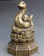 ymying 1013+++++8″ Marked China Palace Brass YuanBao Money Wealth Snake Serpent Statue Statuette