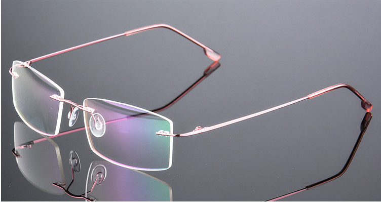 Ultra-light Lady Titanium Myopia Glasses Women Rimless Nearsighted Glasses Finished Prescription Glasses -0.50 -1.00 To -6.00