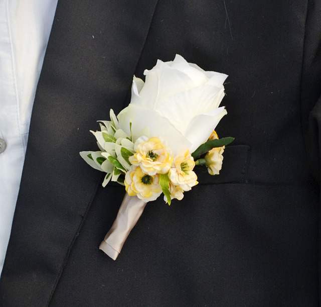 Aliexpress buy handmade flowers corsages groom groomsmen handmade flowers corsages groom groomsmen boutonniere artificial flower silk rose corsage wedding supplies man suit cloth mightylinksfo