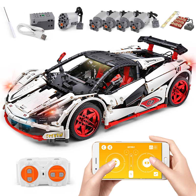 20087 DHL Yeshin Technic Car Series Compatible With MOC-3918 Motorzed White Car Set Kid Building Blocks Bricks APP RC Cars Toys