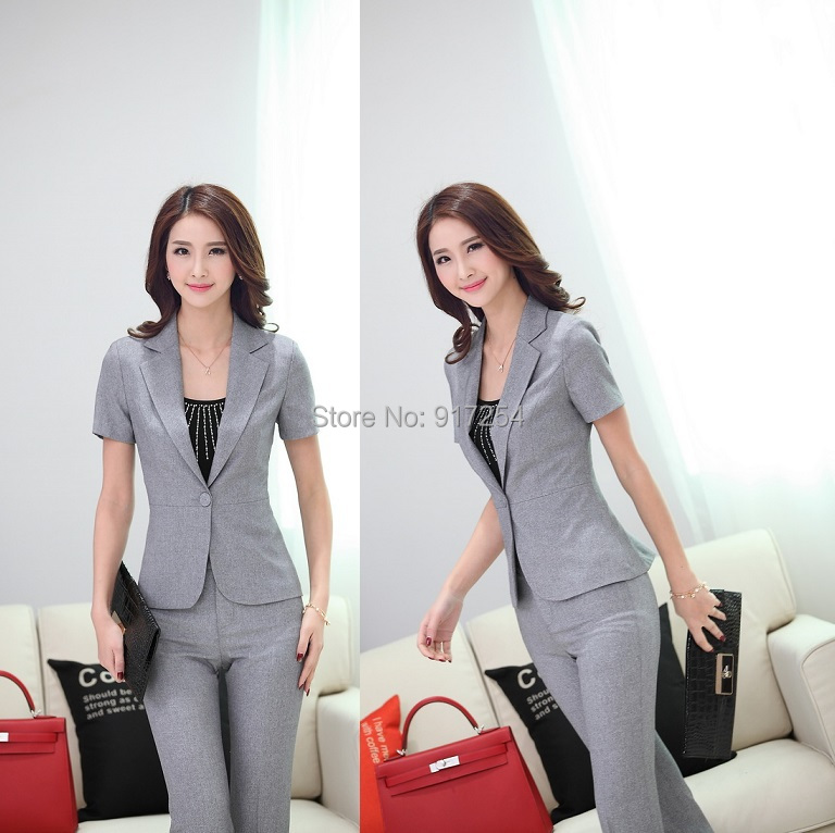 Plus Size Elegant Grey 2015 Summer Women Work Wear Pants Suits For Office Ladies Trousers Suits Tops And Pants Blazers Set