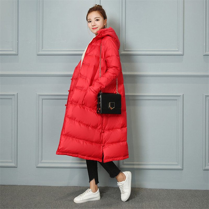Sanishroly Autumn Winter Women Hooded   Coat   Thicken White Duck   Down   Jacket Parka Female Buckle Long Outerwear Tops Plus Size S413