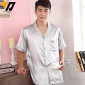 Men Summer Silk Pajama Sets Satin Nightwear Sleepwear Pajamas Loungewear Pyjamas Set Short Sleeve Hombre Pants L-XXL