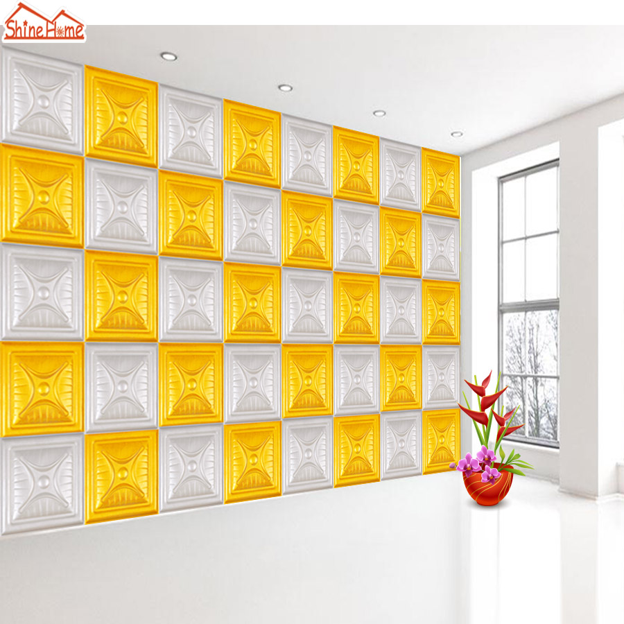 Shinehome-Modern Golden Yellow White Mosaic Soft Roll 3d Brick Wallpaper for Livingroom 3 d Wall Paper Mural Rolls Home Decor элтон джон elton john goodbye yellow brick road deluxe edition 2 cd