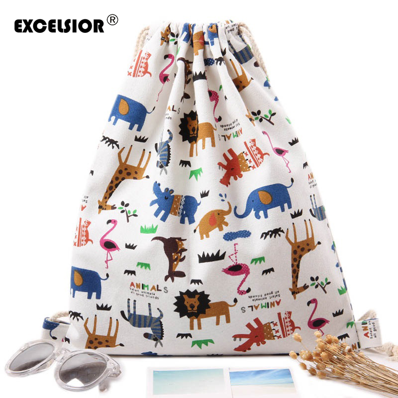 EXCELSIOR Girls Shoulder Bags Beam Port Drawstring Travel Canvas Bags Zoo Cartoon Backpack Women Shoulders Shoes Storage Bags kai yunon women sparrow drawstring beam port backpack shopping bag travel bag aug 24
