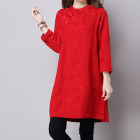 KYMAKUTU Chinese Style Jacquard Red Black Linen Dress Stand Collar Long Sleeve Autumn Winter Women Clothes