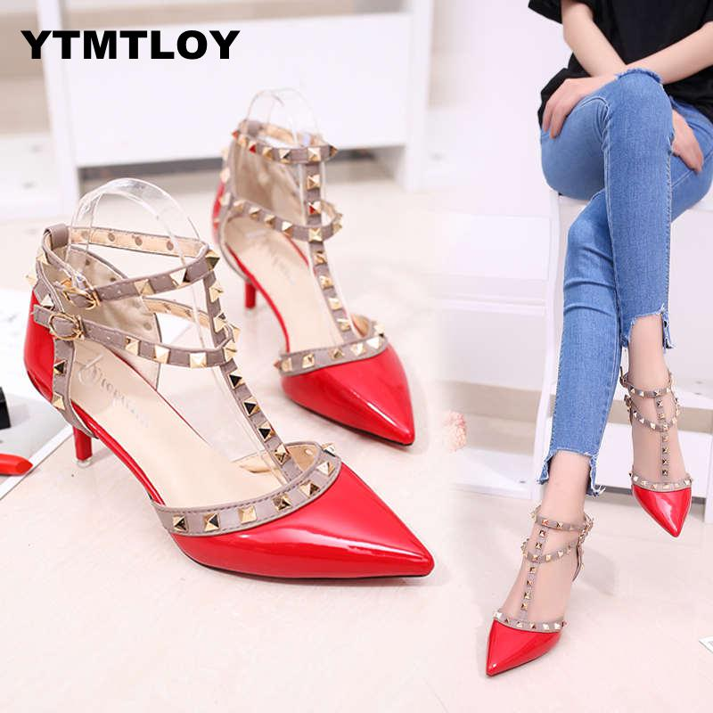 Pumps 2019 Womens Shoes Summer Fashion Female Sandals Rivet Metal Decoration Pu Leather Style Women High Heels Zapatos De MujerPumps 2019 Womens Shoes Summer Fashion Female Sandals Rivet Metal Decoration Pu Leather Style Women High Heels Zapatos De Mujer