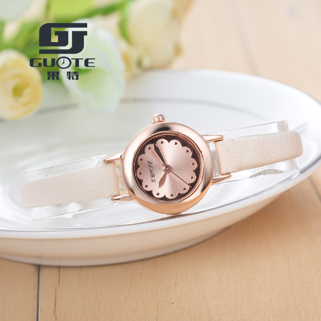 GUOTE Small Dial Women's Bracelet Watches Ladies Quartz Simple Wrist Watch Girl Elegant Fashion Flower pattern Clock Best Gift