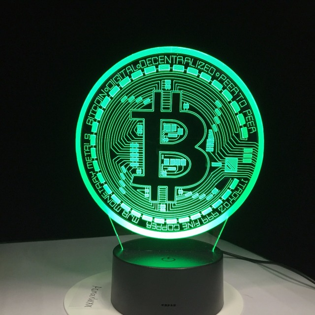 3D Led Lamp Bitcoin Sign Modelling Night Lights 7 Colorful Usb Coin Desk Lamp Baby Bedroom Sleep Lighting Fixture Decor Gifts 1