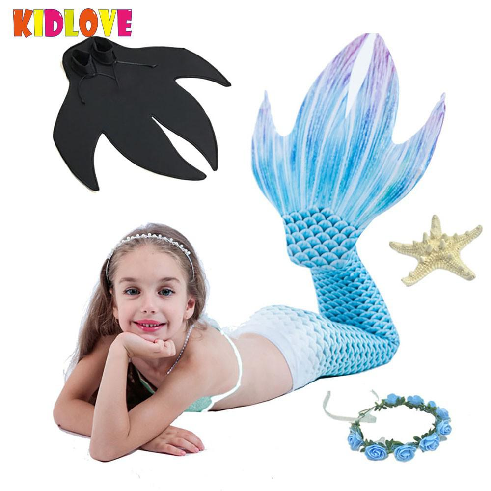 Kidlove 3PCS Girl Mermaid Tail Swimsuit Set Mermaid Skirt Chest Wrap Web-footed Bikini Bar Holiday Beach Outfits Gift print trimmed bodycon mermaid skirt