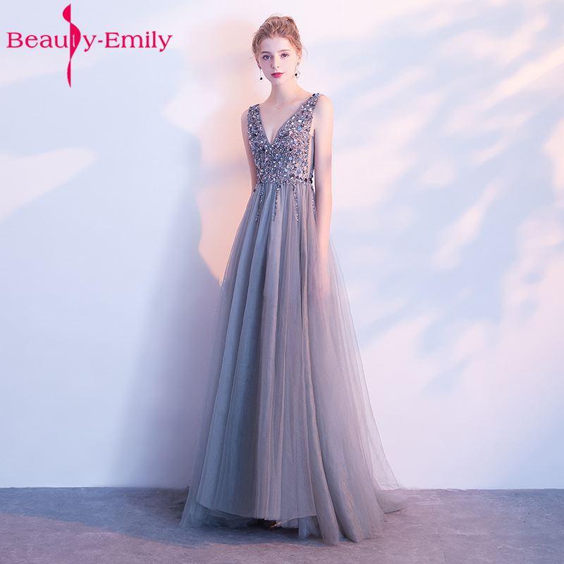 Beads Evening Dresses Long V neck Sleeveless Backless Zipper Formal Ocaasion Party Dresses