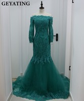 Emerald Green Lace Mermaid Evening Dress Sexy V Neck Backless Long Sleeve Women Formal Engagement Dress
