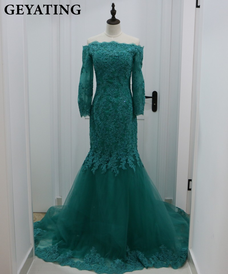 Emerald Green Lace Mermaid Evening Dress Long Sleeve Boat Neckline Backless Women Formal Engagement Dress Long Prom Party Gowns