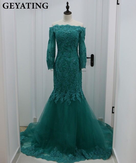 Emerald Green Spitze Meerjungfrau Abendkleid Lange Hülse Ausschnitt ...