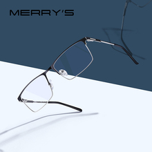 MERRYS DESIGN Men Titanium Alloy Glasses Frame Male Square Ultralight Eye Myopia Prescription Eyeglasses Male Half Optical S2047
