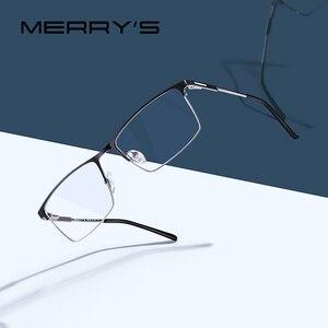 Image 1 - MERRYS 디자인 남자 티타늄 합금 안경 프레임 남성 광장 초경량 눈 근시 처방 안경 남성 절반 광학 S2047