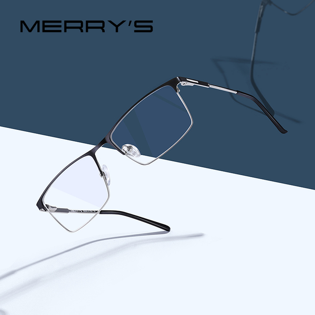 MERRYS 디자인 남자 티타늄 합금 안경 프레임 남성 광장 초경량 눈 근시 처방 안경 남성 절반 광학 S2047
