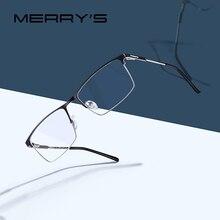 MERRYS עיצוב גברים טיטניום סגסוגת משקפיים מסגרת זכר כיכר Ultralight עין קוצר ראיה מרשם משקפיים זכר חצי אופטי S2047