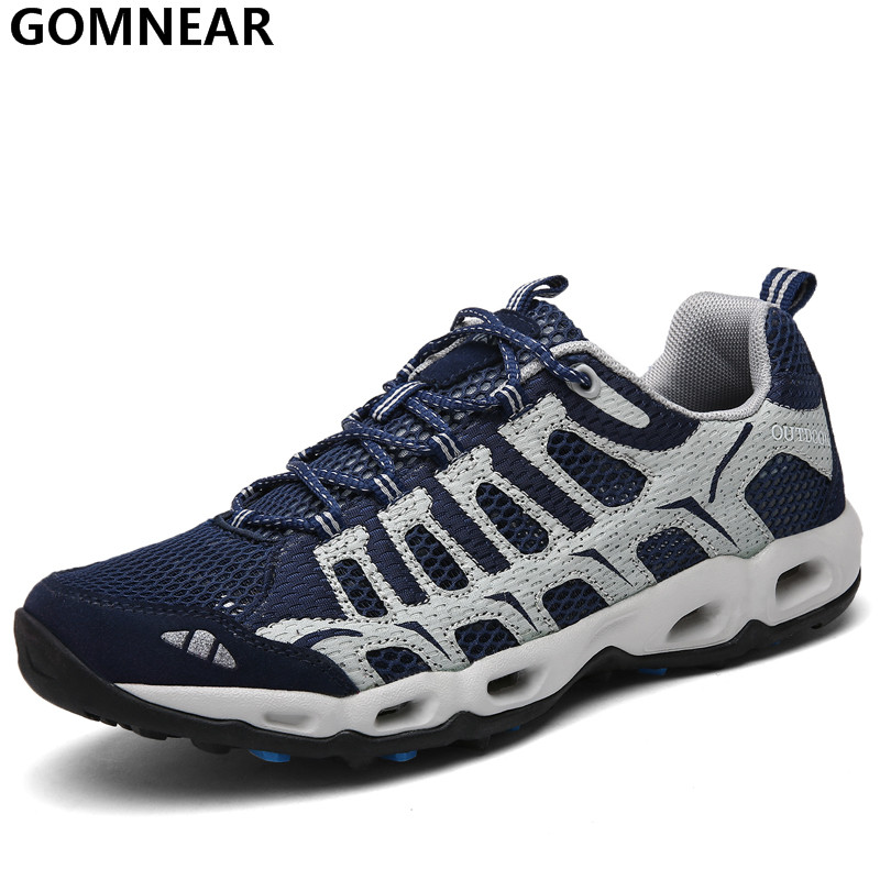 GOMNEAR Men's Sport Running Shoes Breathable Jogging Outdoor Sneakers Men's Antiskid Tourism Athletic zapatillas trekking hombre
