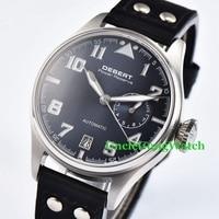 42mm DEBERT Mens Automatic Watches Black Rivets Leather Strap Relojes SS Case Blue Luminous Dial WristWatch DT7015CSL