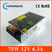 75w 12V 6.3A Switching led DC Power Supply non-waterproof led driver 12V for LED strip light block power Free shipping
