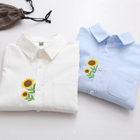 Spring And Autumn Preppy Style New Embroidery Blouses Oxford Turn Down Collar Women Bottom Small Fresh