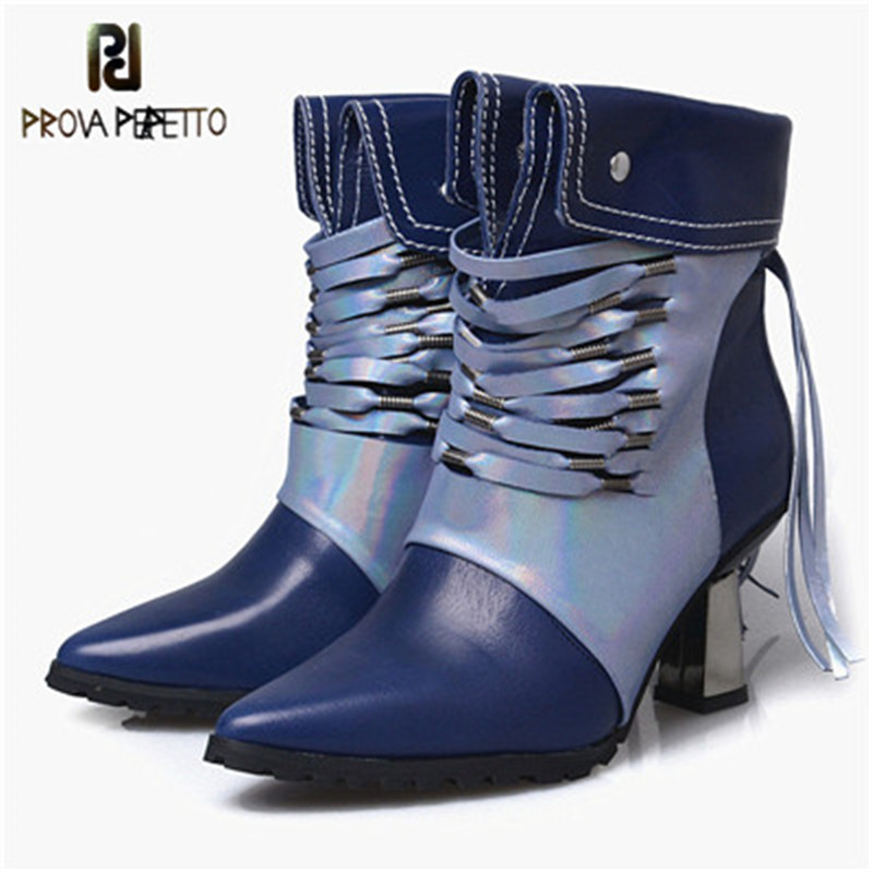 Prova Perfetto 2018 Hand Made Tassel Silk Ribbon Rivet Women Boots Mixed Color Real Leather Point Toe Zip High Heel Ankle Boots цены