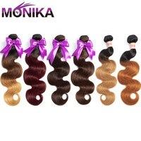 Monika Hair Brazilian Body Wave Bundles 100% Human Hair Bundles Weave Ombre Bundles 3/4 Pieces Pre Colored Hair Weaves Non Remy