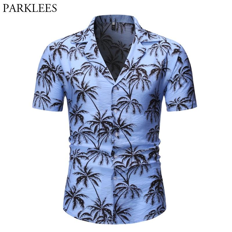 Blue Hawaiian Shirt Men 2019 Summer Short Sleeve Palm Tree Print Button Down Aloha Shirts Mens Holiday Party Camisa Hawaiana 2XL